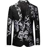 Allthemen Men's Suit Tuxedo Jackets Floral Print Blazer Single Breasted One Button Casual Wedding Dinner Prom Dress Party Bla