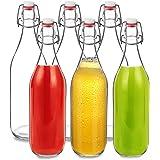 Lot de 6 bouteilles en verre 500 ml avec bouchon à étrier à remplir soi-même pour jus de bière, kombucha, kéfir, smoothie