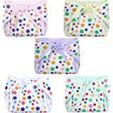 Superminis Baby Boy and Baby Girl Polka Dot Print Cotton Cushioned Nappies Combo (Pack of 5)