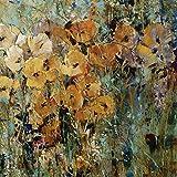 Artland Qualitätsbilder I Alu Dibond Bilder Alu Art 80 x 80 cm Botanik Blumen Mohnblume Spachteltechnik Orange C2GV Mohnblumenfeld II