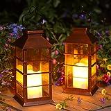 Lot de 2 Lanterne Solaire Exterieur Lampe Solaire de Jardin IP44 Imperméable Vintage Lumière en Plastique Accrochant Éclairag