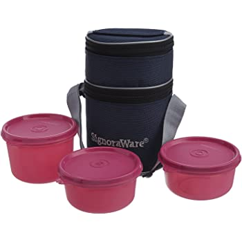 Signoraware Officer's Lunch Box with Bag, 14.5cm, Pink