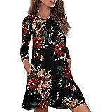 Durio Damen Einfaches Kleider Basic Casual A-Linie Skaterkleid Freizeit Kleider Fließendes Kleid Langarm Beiläufige…