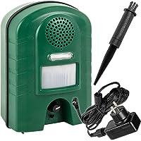 Ultraschall-Vertreiber mit Bewegungsmelder VOSS.sonic 2800 | Blitz, Netzteil + Aufstellpfahl | Ultraschall-Abwehr Katzen-Schreck Marder-Abwehr Hunde-Vertreiber