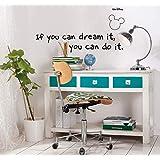 Komar - Disney - Deco-Sticker YOU CAN DO IT - 50 x 70 cm - Muurtattoo, Muursticker, Muursticker, Micky Mouse, Citaat, Spreuk,