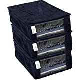 Homestrap Parachute Quilted Shirt Cover/Wardrobe Cloth Organizer (Blue) - Pack of 3