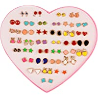 Shining Diva Fashion Latest 36 Pairs Combo Set Heart Box Design Stud Earrings for Girls (Multicolor) (12022er)