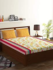 Bombay Dyeing Breeze Collection Flat Double Bedsheet Set, Red, 224 X 254cm, 4913 B