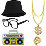 SPECOOL Kit de Disfraces de Hip Hop 90's 80's Rapero Accesorios Sombrero del Cubo Collar de Cadena de Oro con Signo de Dólar