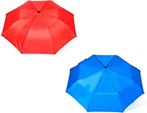 Shroff's Anchor Auto Open 2-Fold Red,3-Fold Blue Umbrella(Pack of 2)