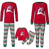 Surfiiy Pigiama Famiglia Natale Set, Mamma Adult Due Pezzi Alci di Salto Xmas Genitore-Figlio Costume Eleganti Cotone T Shirt
