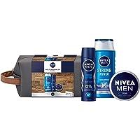 NIVEA MEN Weltenbummler Geschenkset, Kulturtasche für Männer mit Shampoo, Deo Spray und NIVEA MEN Creme, Reiseset für…