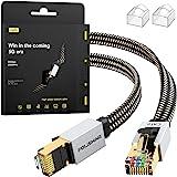 Cable Ethernet Cat8 de 2M, Cordón de Remiendo de Lan de Nylon Trenzado de Alta Velocidad, Cable Plano Blindado RJ45 de 40Gbps