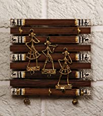 Unravel India Wood Dhokra Craft and Warli Painted Fusion Key Holder - 90x100-inch, Brown