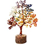 Selten 400 Stones Seven Colorful Chakra Fengshui Vastu Crystal Stone Tree Figurine, Height:- 11 Inches, Multicolour, Standard