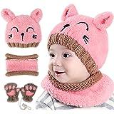 GIKPAL Niños Bebe Sombrero y Bufanda, Invierno Bebé Beanie Bufandas Set Tejido Gorro Punto Caps Sombreros Bufanda de Punto Cu