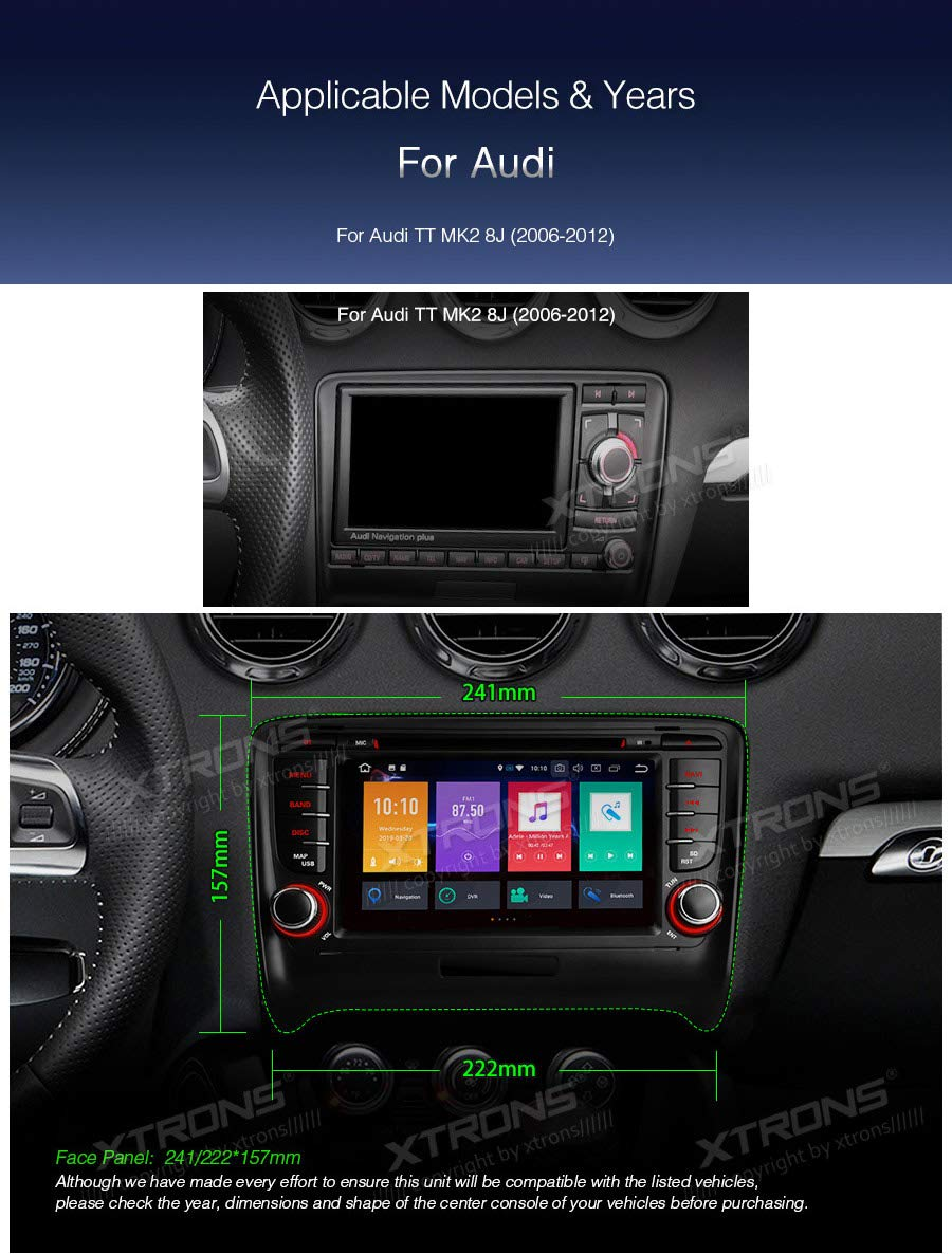 XTRONS-7-Android-Autoradio-mit-Touchscreen-Android-90-DVD-Player-Octa-Core-Auto-Autostereo-untersttzt-3G-4G-Bluetooth-4GB-RAM-32GB-ROM-DAB-OBD2-CAR-Auto-Play-TPMS-FR-Audi-TT