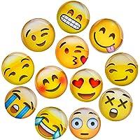 Lesfit Aimant Emoji, 12 Pièce 3D Verre Smiley Aimant Réfrigérateur à Forte Adhérence pour Décorer Frigos, Tableau Blanc…
