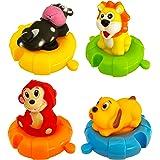 Juguetes de Baño con Forma de Animales para Bebés y Niños| Set de 4 Animales Marinos de Juguete Coloridos para La Bañera-Pisc