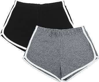 URATOT 2 Pack Cotton Sport Shorts Yoga Dance Short Pants Summer Athletic Shorts