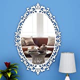 WallMantra Classic Design Oval Vanity Mirror with Bold Motif Design Wood Frame