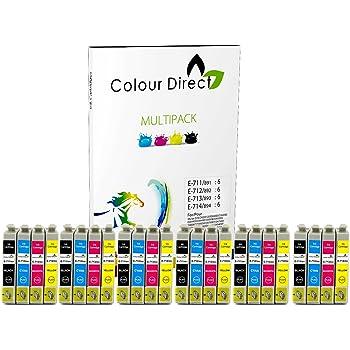 24 ( 6 Ensembles ) Colour Direct Compatible Cartouches d'encre T0715 - Remplacement Pour EPSON STYLUS S20, SX100, SX105, SX110, SX115, SX200, SX205, SX210, SX215, SX218, SX400, SX405, SX410, SX415, SX510W, SX515W, SX600FW, SX610FW, BX300F, BX3450, CX4300, S21, D120, D5050, D78, D92, DX400, DX4000, DX4050, DX4400, DX4450, DX5000, DX5050, DX6000, DX6050, DX7450, DX8450, DX7000F, DX7400, DX8400, DX8450, DX9400, DX9400F, BX310FN imprimeur