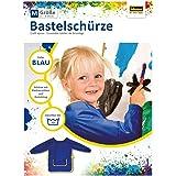 Idena 611185 – pysselförkläde för barn från 7 till 8 år med långa ärmar och kardborreband, i blått, perfekt för målning, hant