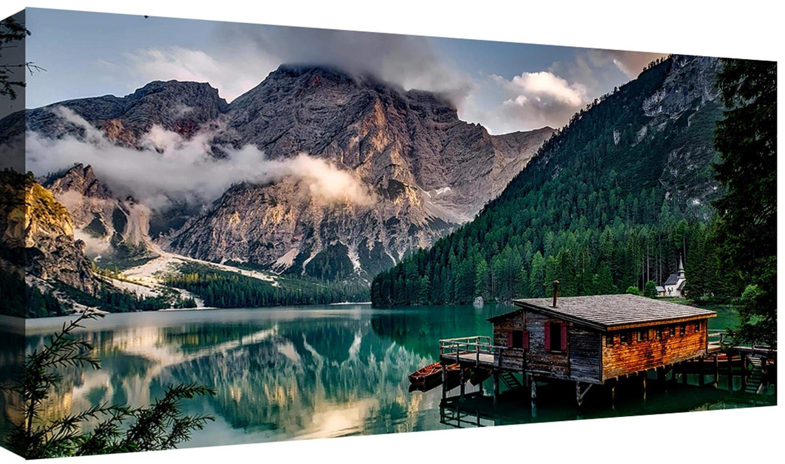 Canvashop Quadri Moderni Lago di Braies cm 100x50 Stampa su Tela XXL Quadro  Moderno Natura Montagna Dolomiti