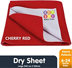 Bey Bee Waterproof Bed Protector Baby Care Sheet, Large, Red (140 cm x 100 cm)