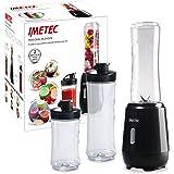 Imetec Personal e Sport Blender PB 100 Mini Frullatore con 2 Bottiglie Take-Away in Tritan e 4 Lame in Acciaio Inox, 46 Decib