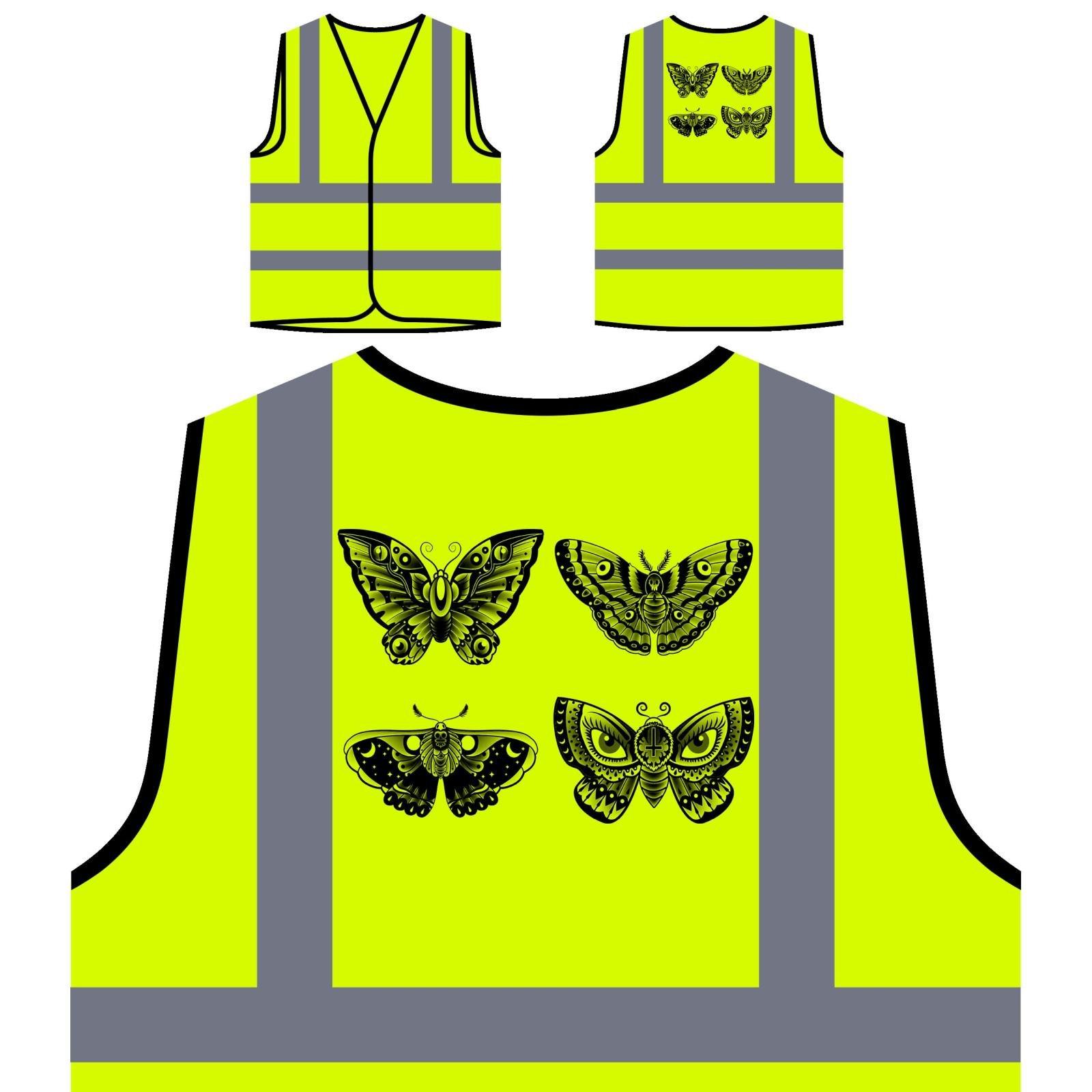 Nuovo Tatuaggio Della Farfalla Vecchia Scuola Personalizzato Hi Visibilità Giacca Gilet di sicurezza