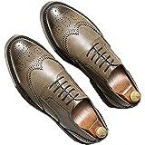 Scarpe Eleganti da Uomo Brogue retrò Low-Top Resistenti e Leggere Scarpe in Pelle con Lacci Punta a Punta Piatte Antiscivolo