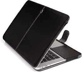 Robustrion Premium PU Leather Protective Folio Case Cover Sleeve for Apple MacBook Air 13 inch A1466 & A1369 - Black