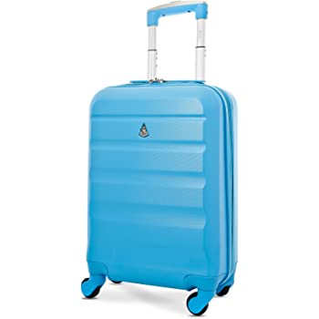 "Aerolite Super Lightweight ABS Hard Shell Travel Carry On Cabin Hand Luggage Suitcase with 4 Wheels, Approved for Ryanair, easyJet, British Airways, Virgin Atlantic, Flybe and Many More, 21"" (Blue)"