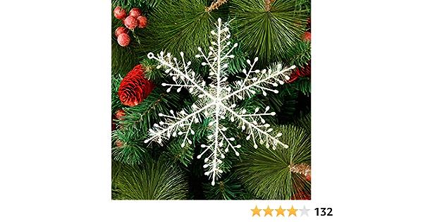 Silber Deggodech 12 St/ück 10cm Glitter Schneeflocken Deko Plastik Aufh/ängen Weihnachtsbaum H/ängende Ornamente Schneeflocke h/ängend Weihnachtsbaumschmuck Weihnachtsdeko