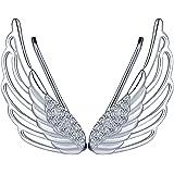 Infinite U - Eleganti orecchini a perno in argento Sterling 925 a forma di ali di angelo, con zirconi, per donne/ragazze, col