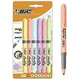 BIC Highlighter Grip Surligneurs (Pointe Biseautée/Parfait pour l'Ecole et au Bureau/Ne Sèche Pas) - Couleurs Pastel Assortie