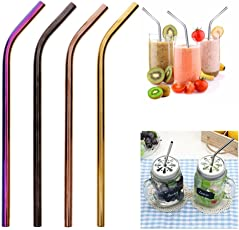 HitTime Colorful Stainless Steel Drinking Straw 8mm Summer Stright Bent Design