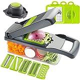 Hachoir à légumes, coupe-oignons, coupe-pommes de terre multifonction en acier inoxydable 7 en 1 avec récipient pour légumes-