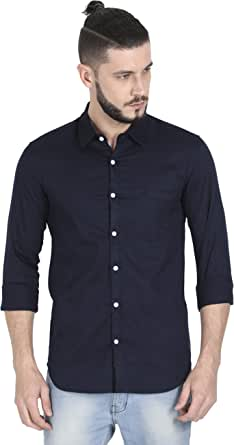 LIVE'S PASSION Men Solid Full Sleeve Cotton Shirts