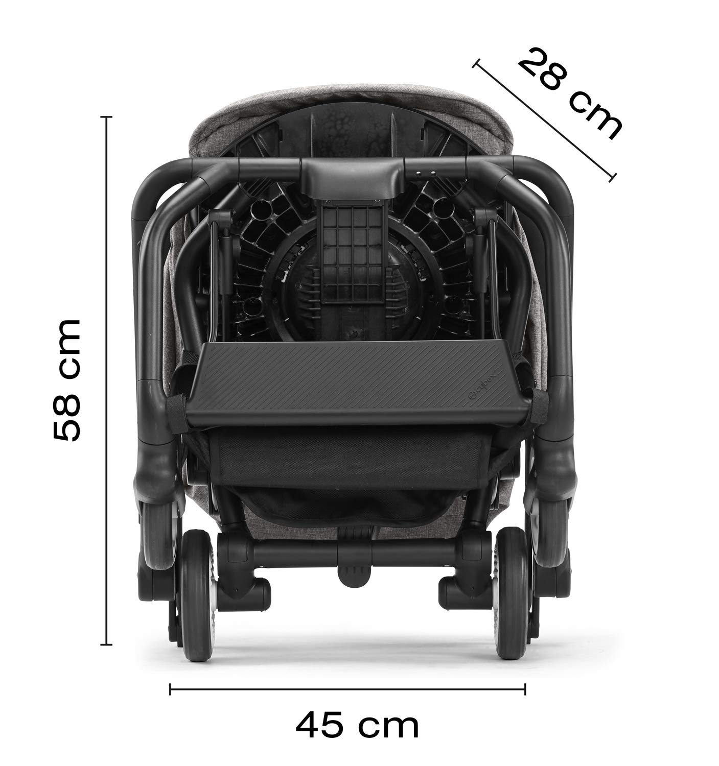 CYBEX Gold Eezy S Twist Compact Pushchair, 360° Rotatable Seat Unit, Ultra-Compact, From Birth to 17 kg (approx. 4 years), Lavastone Black  Sturdy, High-quality Compact Pushchair for newborns up to approx. 17 kg (approx. 4 years) with unique rotatable seat unit - Including rain cover for optimum use in all weather conditions Quick and easy change of direction with 360° rotatable seat unit, Comfortable sitting position thanks to stepless adjustable reclining backrest with lie-flat position, Puncture proof tyres and all-terrain wheel suspension Simple folding with one-hand folding mechanism for compact travel size (LxWxH: 26 x 45 x 56 cm), Extremely manoeuvrable due to narrow wheelbase, Can also be used as 3-in-1 travel system with separately available CYBEX and gb infant carriers and the baby cocoon S (sold separately) 4