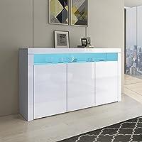 Senvoziii LED Buffet Armoire de Rangement Armoire 3 Portes avec Boîtier Ouvert Meuble TV Haute Brillance pour Salle à…