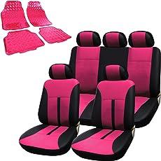 WOLTU AS7288pk+AM7161 Auto Schonbezug Schonbezüge für PKW ohne Seitenairbag Fußmatten, pink