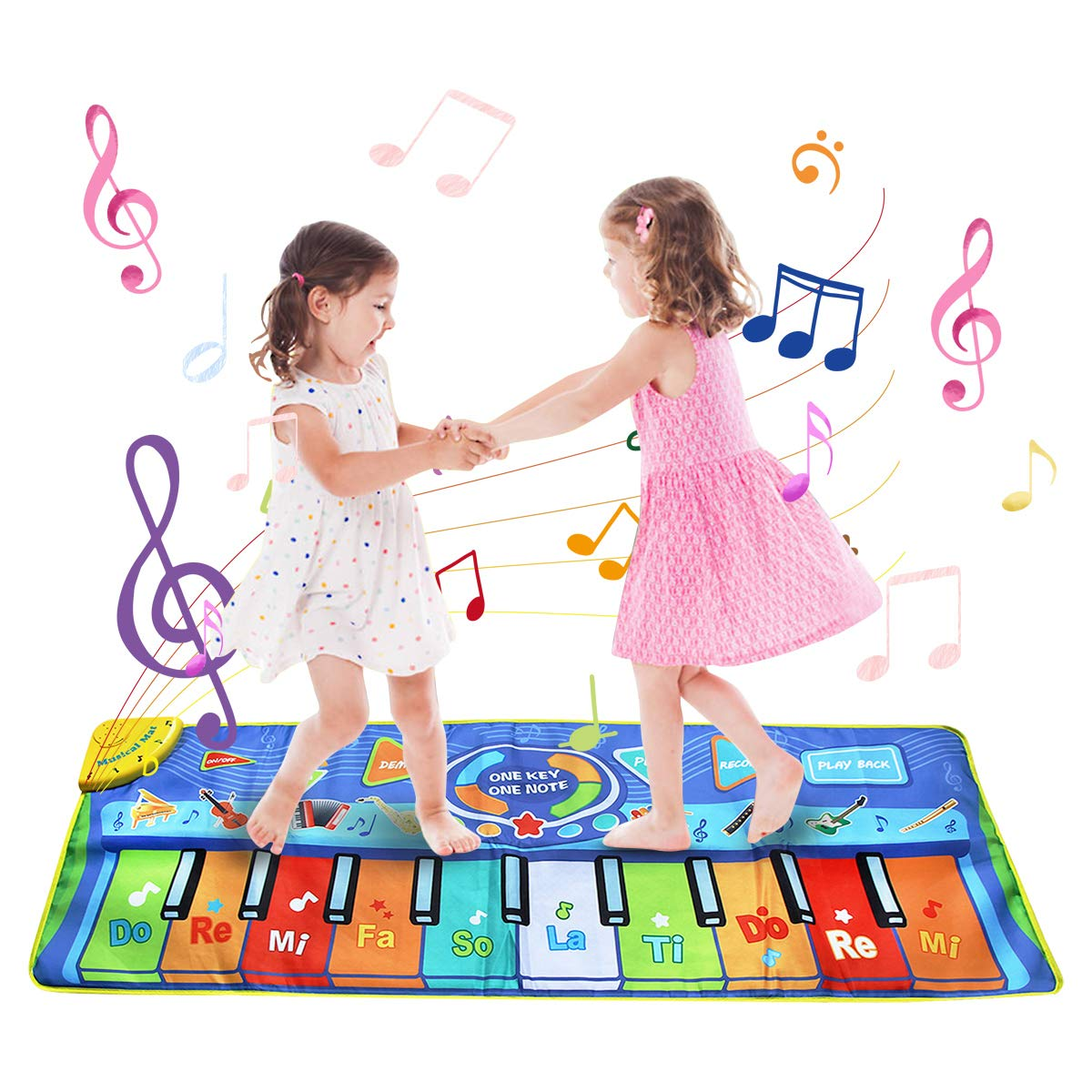 BelleStyle Alfombra de Piano, 130 * 48 cm Grande Alfombra Musical para Niños, Tapete Musical Toque Jugar Teclado de Piano Manta Musical Educativo Juguete para Bebé Niños Pequeños – Azul