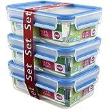 Emsa Clip&Close - Set de 3 Conservadores Herméticos de Plástico Rectangular de 1L, higiénico, no retiene olores ni sabores 10