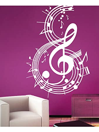 Buy Creative Width Music Notes Wall Sticker Decal   White Online At Low  Prices In India   Amazon.in Part 62