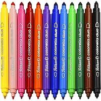 Pelikan, Pennarelli, Colorella Duo, 12 Colori, Doppia Punta Fine, Lavabili, Base Acqua, per Bambini- Cappuccio…