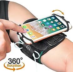 MATONE Fascia da Braccio Sportiva per Smartphone iPhone X / 8/8 Plus / 7/7 Plus / 6 / 6S Plus, Galaxy S9 / S9 Plus / S8 / S7, Traspirante Bracciale 360° Rotazione, con Portachiave per Jogging (Nero) (Nero)