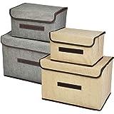 TIMESETL 4Pcs Boîtes de Rangement avec Couvercle et Poignée, Boîtes de Rangement Pliable en Tissu Antipoussière pour Maison,
