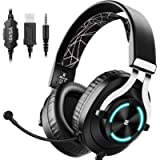EKSA Gaming Headset for Xbox One PC Headset with Noise Cancelling Mic, RGB Light & In-Line Control, Gaming Headphones…